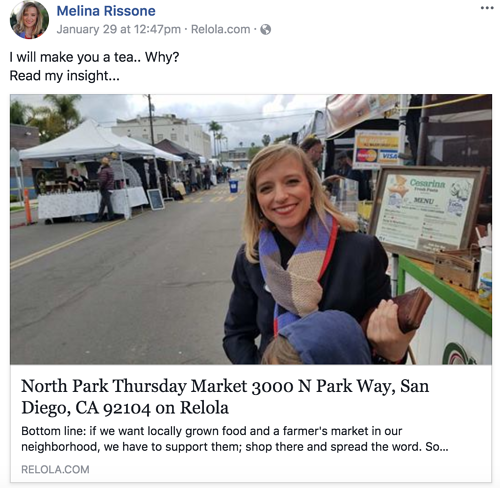Melina Rissone SD Property Finder Facebook post with Relola insight