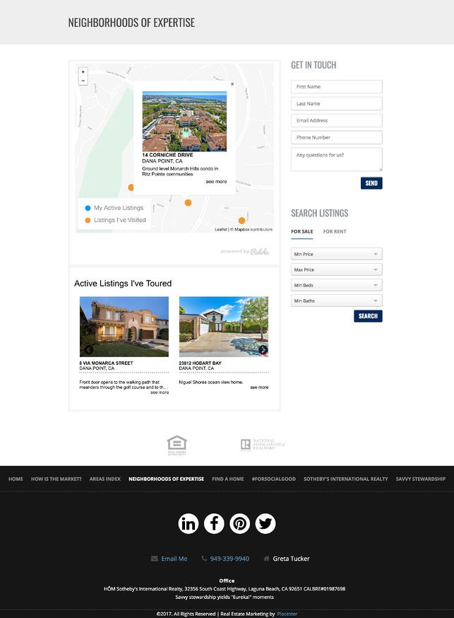 Placester web site for NAR member with local content from Relola